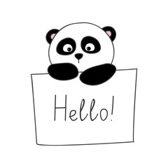 Cute cartoon panda isolated on white