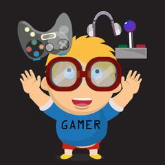 gamer kid. boy character - vector