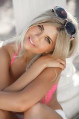 Beautiful girl smiling portrait summer