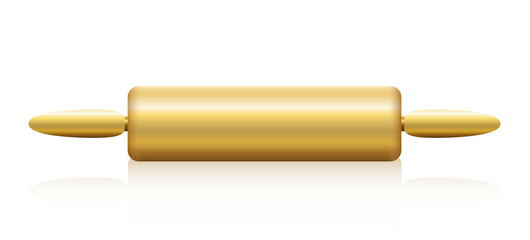 Golden rolling pin. Isolated illustration over white background.