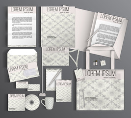 Corporate identity template design with floral pattern.