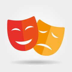 Mask icon/Theater icon with happy and sad masks