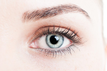 Close-up with green eye of woman model