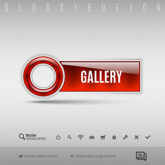 Red plastic button on the gray background. Vector design element