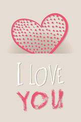 Heart from paper Valentines day card vector