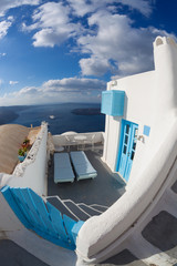 Typical house on Santorini island in Greece