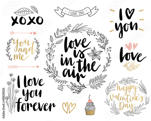 Wall mural Valentine`s Day Lettering Design Set - hand drawn.