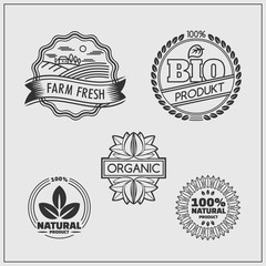 Collection of labels and badges for organic, eco and bio products on gray background.