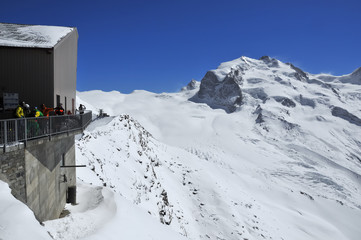 skiers and the Monte Rosa