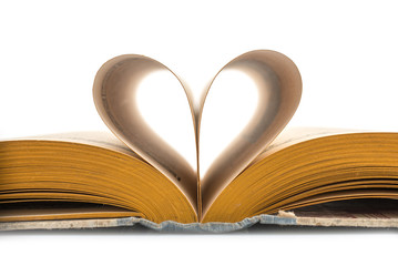 Heart old book, white background