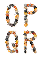 O, P, Q, R. Letters of pebbles