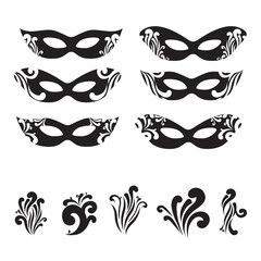 Six Masquerade mask silhouettes
