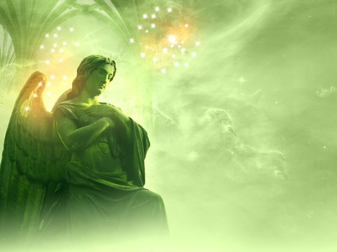archangel Rafael over a green background with stars and gate