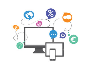 social media network concept, internet communications icons