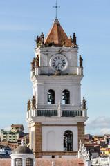 Belltower of Felipe Neri monastery in Sucre, Bolivia