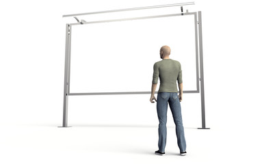 man looking at a billboard isolated on white