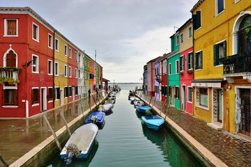 Colorful buildings in the village of Burano in the Venetian Laguna, Italy
