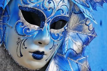 Blue Venetian carnival mask in Venice, Italy