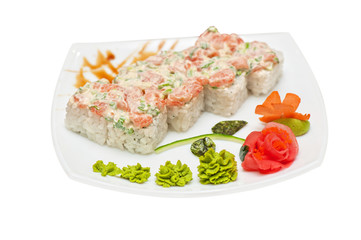 Roll with cream sauce, salmon fish