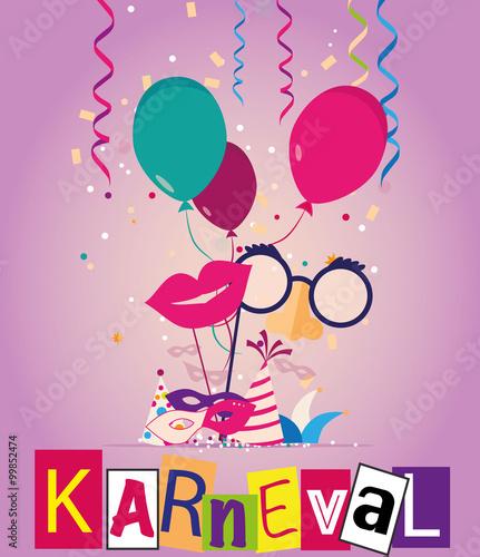 Karneval Fasching Ballons Und Luftschlangen Stockfotos Und