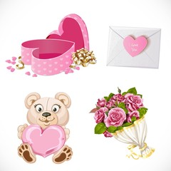 Pink icons set Gifts Valentine's Day isolated on white background