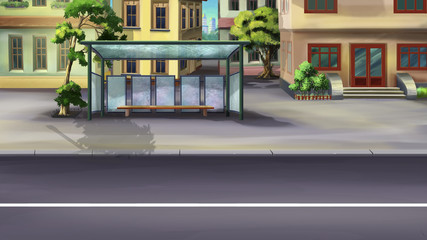 Bus stop in a city Digital painting of the designated place where buses stop for passengers to board.