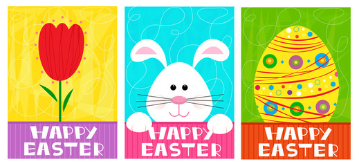 Happy Easter banners - Three different Happy Easter banners with tulip, bunny and Easter egg. Eps10