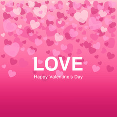 Falling pink hearts on background is ideal for Valentine's Day Greeting Card