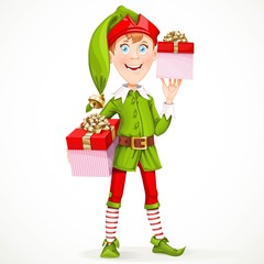 Cute boy the New Year's elf Santa's assistant gives gifts isolat