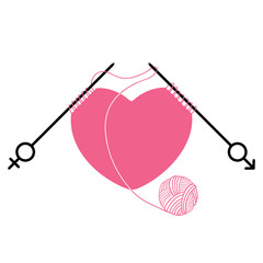 Pink heart and knitting needles with gender symbol isolated on white background. Concept of relations between men and women. Traditional symbols of Valentine's Day.