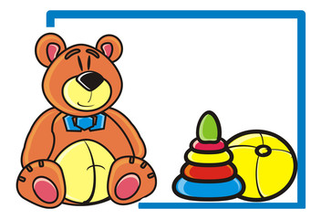 animal, bear, teddy bear, toy, child, childhood, boy, ball, pyramid, tablet
