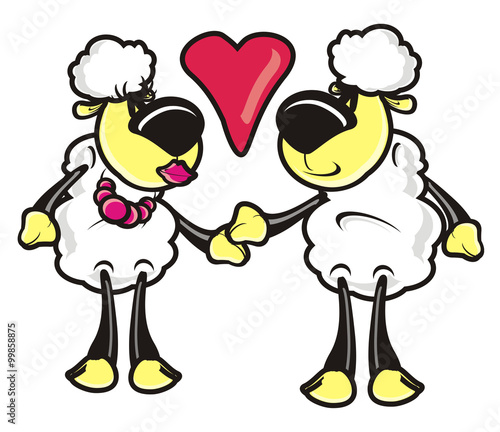 Sheep Lamb Toy Cartoon Drawing Couple Love February 14
