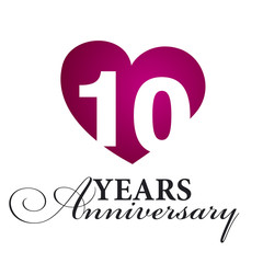 10 years anniversary white background