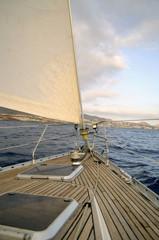 Yacht  sailing in Atlantic ocean.Tenerife,Canary Islands.
