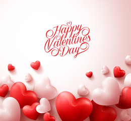 Happy Valentines Day Background with 3D Realistic Red Hearts and Typography Text in White Background. Vector Illustration