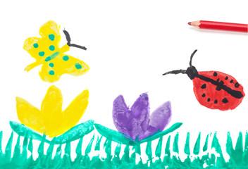 Frühling, Kalenderbild, Kinderzeichnung