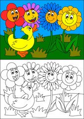 Smiling colorful flowers and duck, as a coloring book for young children - vector svg
