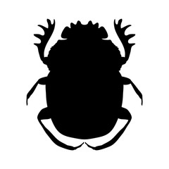 silhouette scarab. silhouette Geotrupidae dor-beetle .silhouette dor-beetle scarab isolated on white background.scarab, dor-beetle. Vector