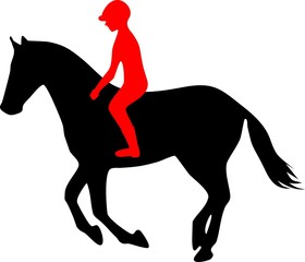 Silhouette of jumping horse with jockey