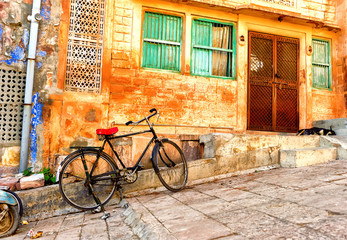 Street view of old quarters in Jodhpur city in India