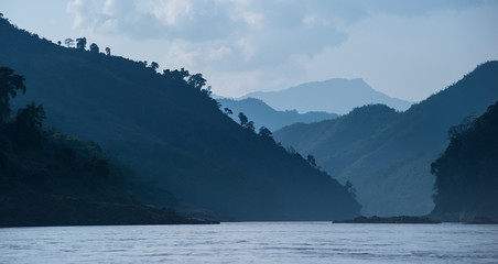 Mountains and hills around Mekong river in Laos