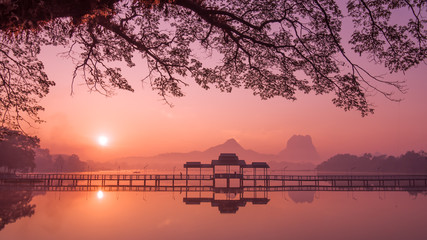 Myanmar (Burma) Hpa An lake at sunrise. Asian landmark and travel destination