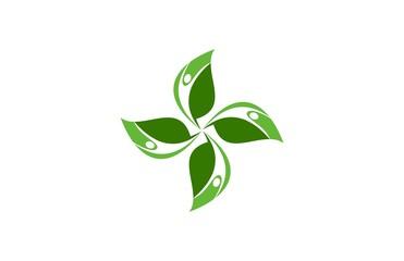 people circle leaf logo vector
