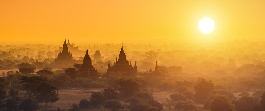 Panorama photography of Myanmar temples in Bagan at sunset