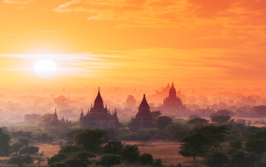 Myanmar Bagan historical site on magical sunset with beautiful sky and Buddhist temples panoramic view