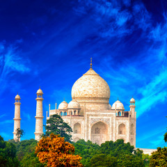 Fototapete - Tajmahal palace and blue sky in India