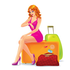 Young woman sitting on a suitcase looking at watch