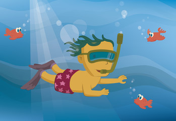 Vector illustration of a little boy is diving into the sea