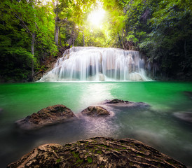 Thailand outdoor photography of waterfall in rain jungle forest