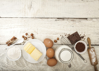 Fotobehang Zuivelproducten Ingredients for the preparation of bakery products